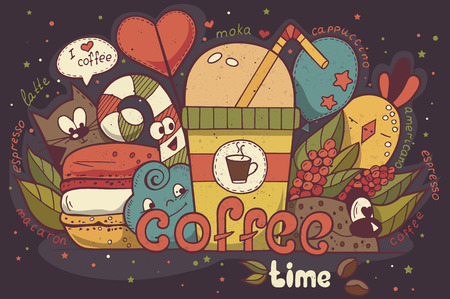 manually: Illustration with funny characters drawn manually on the coffee theme Doodle