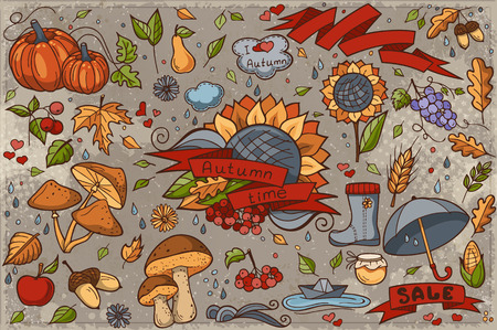 grapes and mushrooms: Big set of colored hand-drawn doodles on autumn theme Illustration