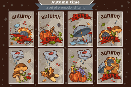 mellow: Big set of cards from the vertical colored doodles on the theme of autumn Illustration