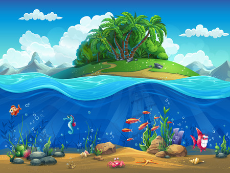 coral ocean: Cartoon underwater world with fish, plants, island