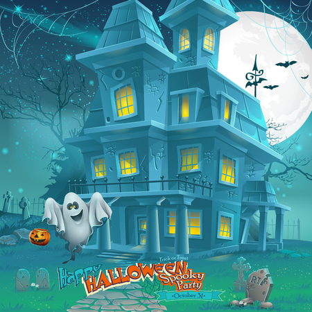 haunted tree: Cartoon night a mysterious haunted house in the moonlight Illustration