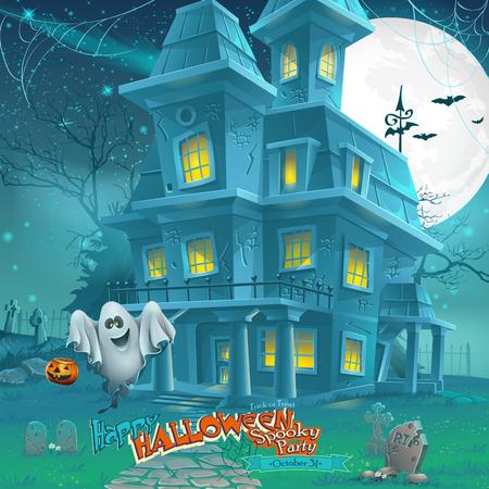luz de luna: la noche de la historieta de una casa encantada misteriosa luz de la luna Vectores