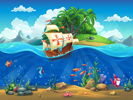 and marine life: Cartoon underwater world with fish, plants, island and caravel