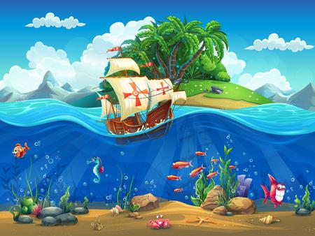 cangrejo: Mundo submarino de dibujos animados con los peces, las plantas, la isla y la carabela Vectores
