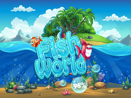 peces caricatura: Pantalla de arranque Ilustración para el juego de ordenador - World Fish