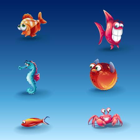 large skull: Illustration kit of funny vector cartoon fishes