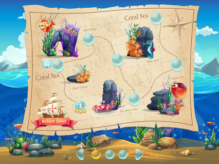 progress: Fish World - Illustration example screen levels, game interface with progress bar, objects, buttons for gaming or web design