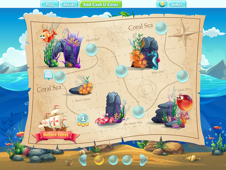 for example: Fish World - Illustration example screen levels, game interface with progress bar, objects, buttons for gaming or web design