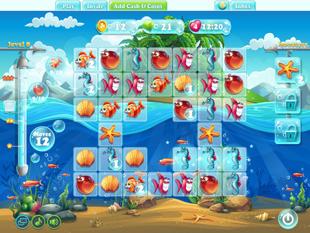 shell fish: Fish world- playing field for the computer game or web design