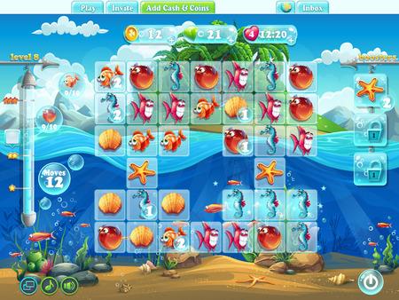 jeu: Poissons mondialement terrain de jeu pour le jeu de l'ordinateur ou de la conception web Illustration