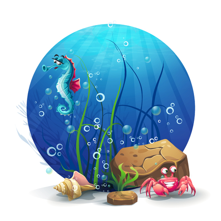 ocean background: Illustration of underwater rocks with seahorse and crab