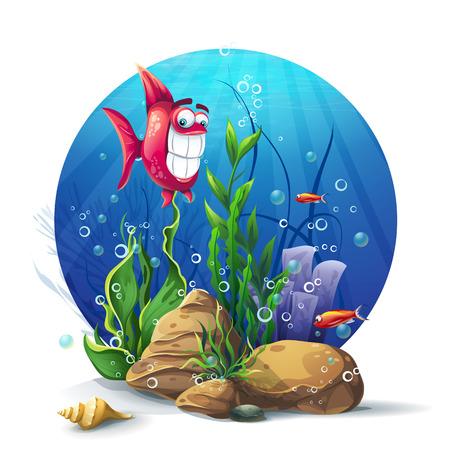 algas marinas: Ilustración de rocas bajo el agua con algas y pescados de la diversión