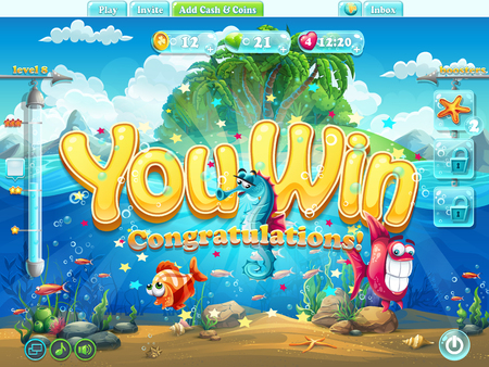 enter: Vector illustration - Fish world example screen you won