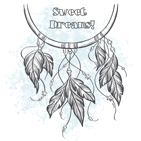 Dream catcher outline vector illustration with feathers Çizim