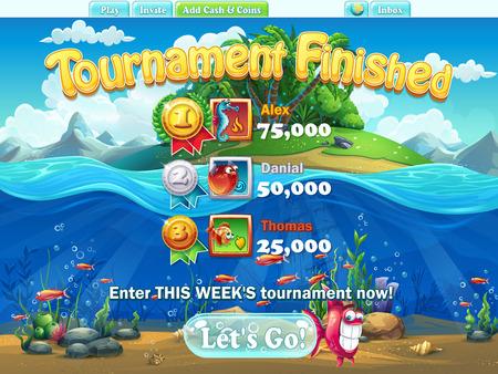 peces: Mundo Fish - torneo final para la computadora, juegos web Vectores
