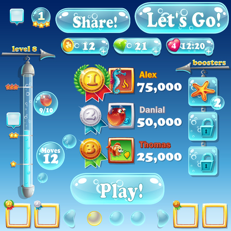 glass button: Fish world - Set different elements in a cartoon style Illustration