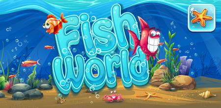cartoon seahorse: Fish world - horizontal banner, icon to the computer game