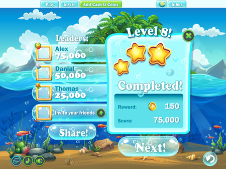 games: Fish world - Example of window level completion for a computer game in cartoon style Illustration