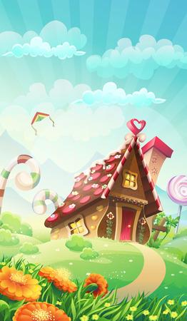 casita de dulces: Casa de caramelo de la historieta en la pradera - ilustración vectorial