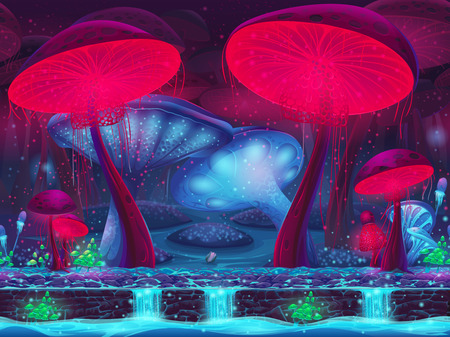 Magic Mushroom Hollow - mystical vector background seamless