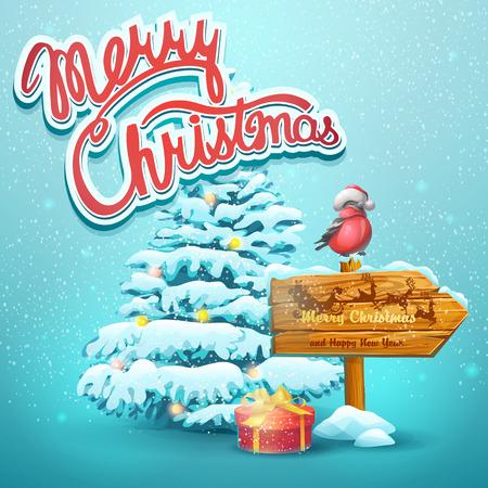 bullfinch: Christmas vector illustration with fir, pointer, bullfinch Illustration