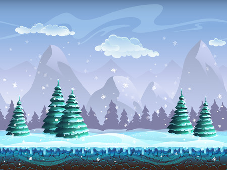 Seamless cartoon winter landscape background endless ice, snow hills, mountains, clouds, sky