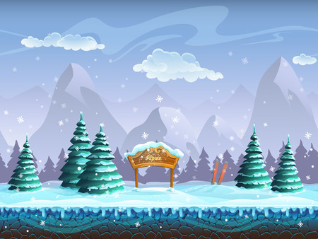 carrot tree: Seamless cartoon background with winter landscape sign and skiing Illustration
