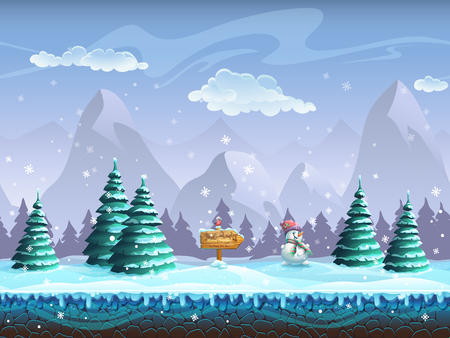 Seamless cartoon background with winter landscape sign snowman and bullfinch