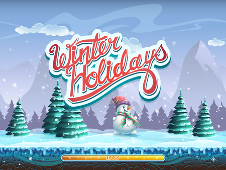 computer game: Winter holidays snowman boot screen window for the computer game