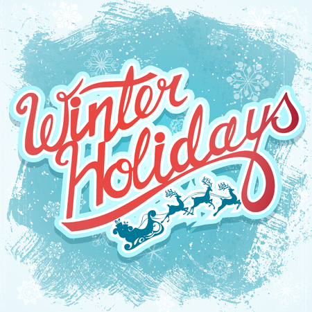 holydays: Winter holydays christmas lettering sign with Santa and deer