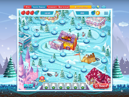 playing field: Merry Christmas GUI - map playing field window background Illustration