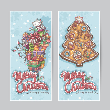 christmas candy: Merry Christmas vector greeting card vertical banners Illustration