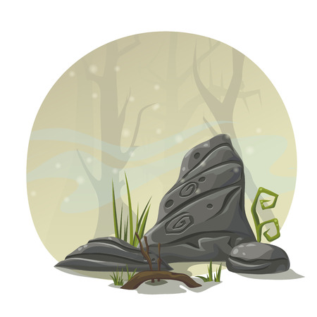 swamp: Stones, grass and roots for computer game location swamp