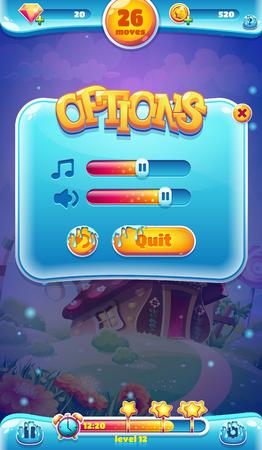 jeu: monde doux �cran de volume sonore de l'interface graphique mobile pour les jeux web vid�o