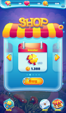 web screen: Sweet world mobile GUI shop screen video web games