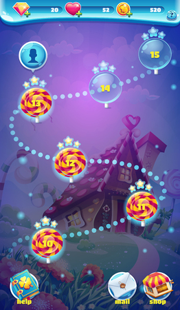game design: Sweet world mobile GUI map screen video web games Illustration