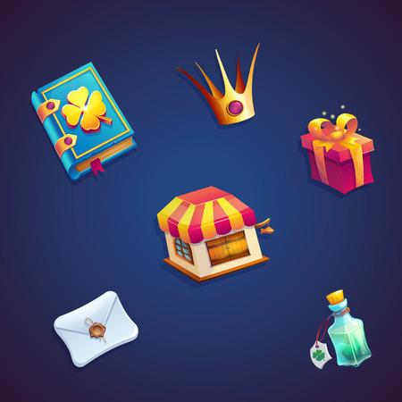 Sweet World Mobile GUI set elementen video web games Stock Illustratie