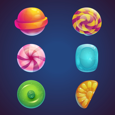 candies: Set of multi vector colored jelly sweets
