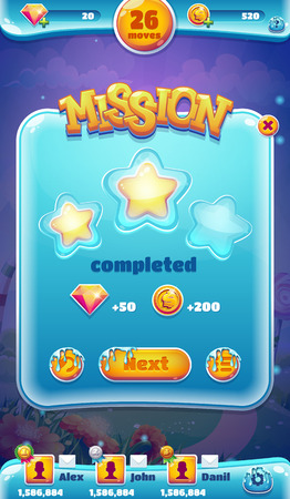 an achievement: Sweet world mobile GUI mission completed vector illustration