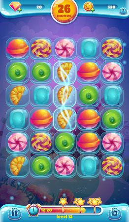 Sweet world mobile GUI playing field vector illustration Illusztráció