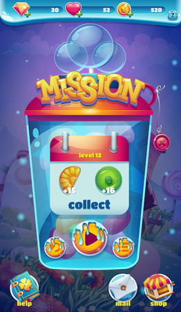 mision: mundo dulce misión de interfaz gráfica de usuario móvil recoger ventana Vectores