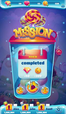 mision: mundo dulce interfaz gráfica de usuario móvil misión completada ventana