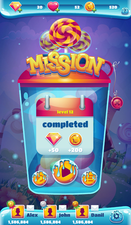 achievement concept: Sweet world mobile GUI mission completed window