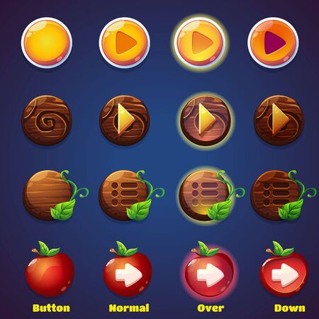 vector buttons: Set of vector buttons with views press