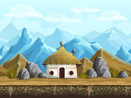 mountain cartoon: Seamless background of the hut in the mountains Illustration