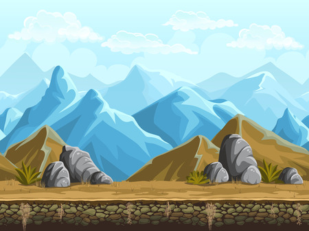 mountain scene: Seamless background of cartoon snowy vector mountains
