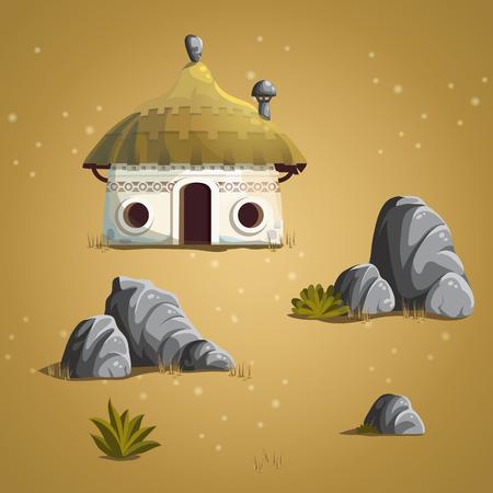 shrub: Set vector elements house, stones, shrub, grass