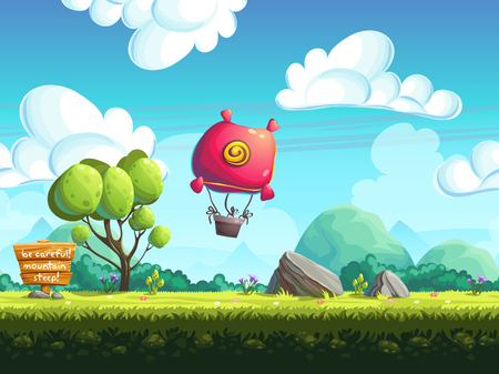 cartoon land: seamless vector background blimp above the hills