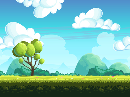 mountain cartoon: Seamless vector background trees and stones from the hills Illustration