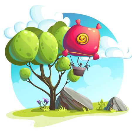 flor caricatura: ilustración de un globo de aire caliente en un fondo de árboles y rocas